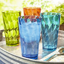 Image of Optix 20-ounce Plastic Tumblers | set of 8 in 4 Basic Colors