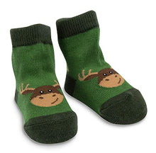 Izzy & Owie One Size Fits All Baby Forest Green Moose Socks