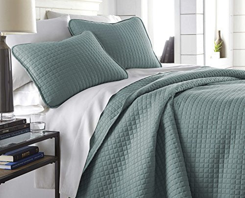 Southshore Fine Linens   Vilano Springs Oversized 3 Piece Quilt Set, Full/Queen, Steel Blue (Teal)
