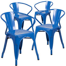 Flash Furniture Commercial Grade 4 Pack Blue Metal Indoor-Outdoor Chair with Arms