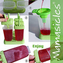 Image of Popsicle Molds with Sticks Ice Pop Maker | 6 Pieces BPA Free Silicone Funnel and Cleaning Brush | Clearance Sale by Mamasicles