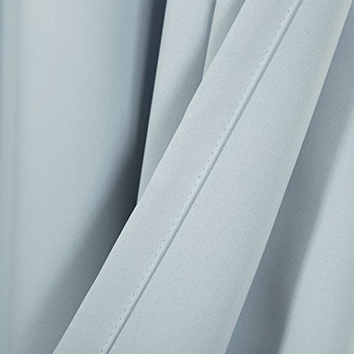 "Best Home Fashion Basic Thermal Insulated Blackout Curtains - Antique Bronze Grommet Top - Sky Blue - 52"" W x 90"" L - No tie Backs (Set of 2 Panels)"