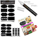 Image of Chalkboard Labels Stickers For Storage Bins   Premium 189 Sticker Bundle + Chalk Marker & Cleaning C