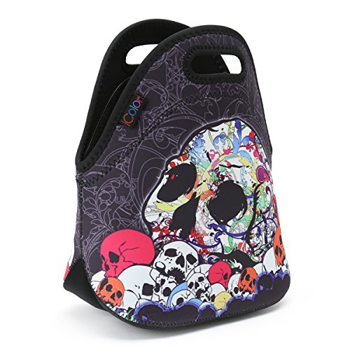 ICOLOR Skull Boys Girls Insulated Neoprene Lunch Bag Tote Handbag lunchbox Food Container Gourmet Tote Cooler warm Pouch For School work Office
