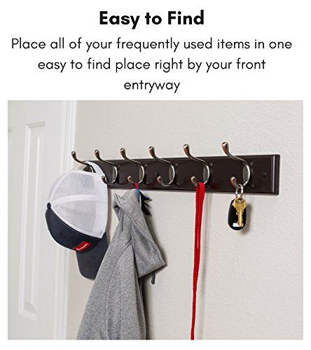 BirdRock Home Hook Coat and Hat Rack - 6 Hooks - 27 Inches - Wall Mount - Decorative Home Storage - Entryway Foyer Hallway Bathroom Bedroom Rail - Oil Rubbed Bronze Hooks - Dark Brown