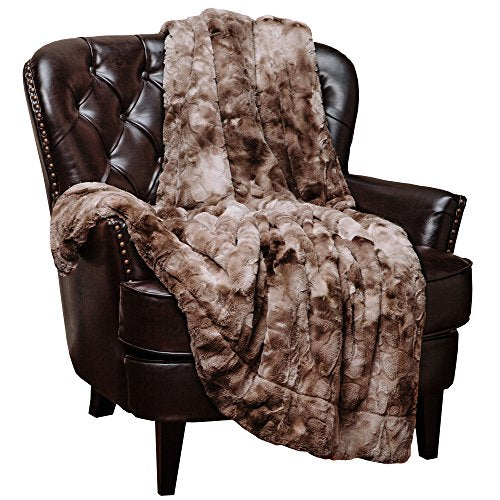 Chanasya Fuzzy Faux Fur Throw Blanket   Light Weight Blanket For Bed Couch And Living Room Suitable