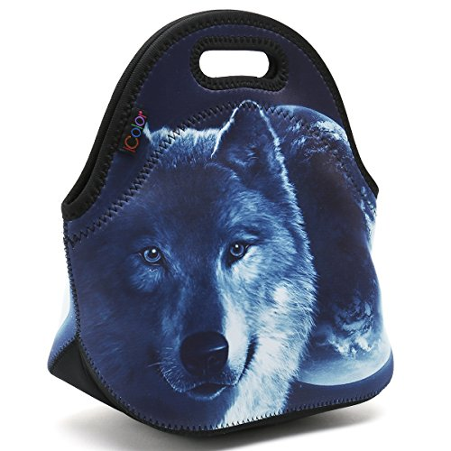 ICOLOR Cool Wolf Boys Insulated Neoprene Lunch Bag Tote Handbag lunchbox Food Container Gourmet Tote Cooler warm Pouch For School work Office