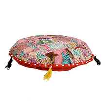 Sophia Art Round Floor Pillow Cushion Patchwork Pouf Ottoman Vintage Indian Foot Stool Bean Bag Floor Pillow Cover Home Decor Living Room Ottoman Bohemain Pillows (Red, 32 Inch)
