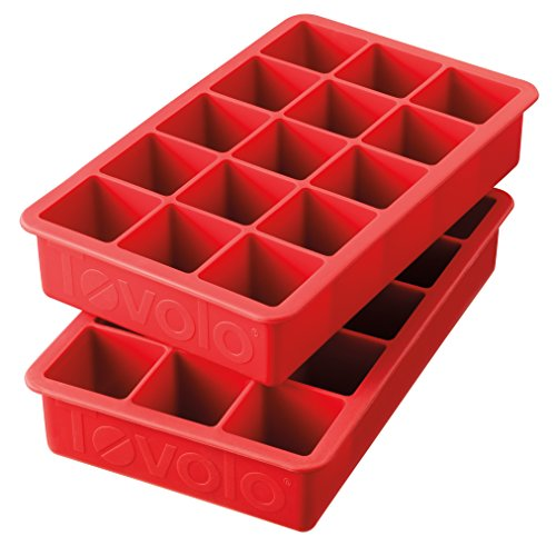 "Tovolo Perfect Cube Ice Mold Trays, Sturdy Silicone, Fade Resistant, 1.25"" Cubes, Set of 2, Candy Apple Red"