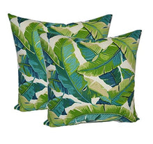 Resort Spa Home Decor Set of 2 - Indoor/Outdoor Square Decorative Throw/Toss Pillows - Kiwi Green/Cancun Blue Bright Tropical Palm Leaf (17