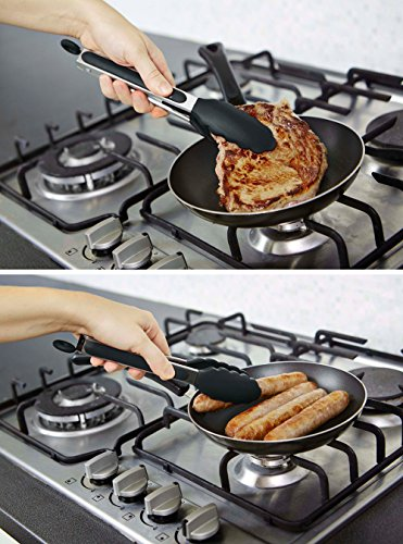 StarPack Basics Silicone Kitchen Tongs 9-Inch - Stainless Steel with Non-Stick Silicone Tips, High Heat Resistant to 480F, For Cooking, Serving, Grill, BBQ & Salad (Gray Black)
