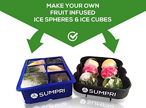 SUMPRI Sphere Ice Mold & Big Ice Cube Trays Novelty-Silicone Ice Ball Maker With Lid For Infused Ice Or Whiskey Glasses [2 Pack] Large Round Spheres Reusable & BPA Free (Blue)