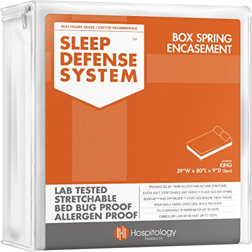 "HOSPITOLOGY PRODUCTS Sleep Defense System - Zippered Box Spring Encasement - Split King - Bed Bug & Dust Mite Proof - Hypoallergenic - 39"" W x 80"" L - Set of 2 for Split Box Spring ONLY"