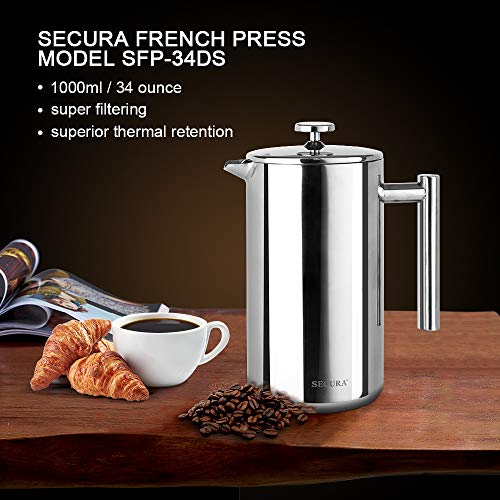 Secura French Press Coffee Maker, 304 Grade Stainless Steel Insulated Coffee Press With 2 Extra Scre