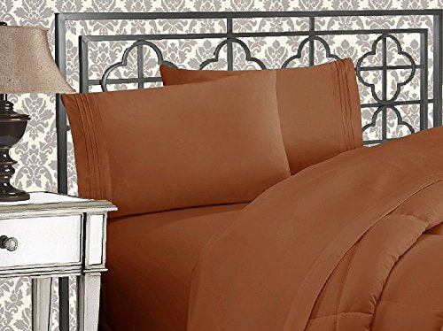 Elegant Comfort 4-Piece 1500 Thread Count Egyptian Quality Bed Sheet Sets with Deep Pockets, California King, Bronze