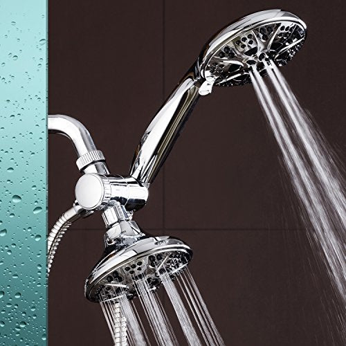 "Aqua Dance Chrome Giant 5"" 30 Mode 3 Way High Power Combo Shower Head & Handheld Separately Or Togeth"