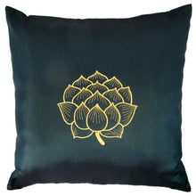 TropicaZona Contemporary Thai Silk Throw Pillow Cover (Cushion Cover), Gold Embroidered Blooming Lotus Design, 16