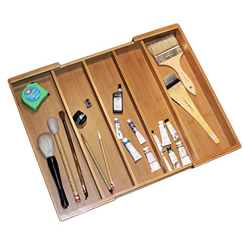 "Totally Bamboo Expandable 5-Compartment Drawer Organizer, Expands from 13 to 22-3/4"" Wide"