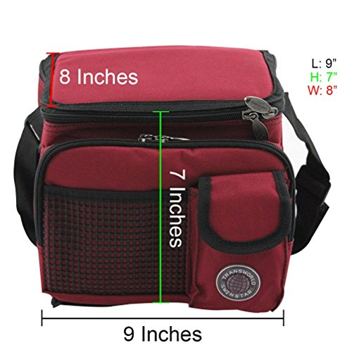 "Transworld Durable Deluxe Insulated Lunch Cooler Bag (Many Colors and Size Available) (9"" x 7"" x 8"", Red)"