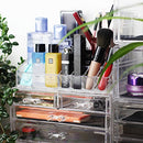 Image of Unique Home New Design Bottom Layer Increase Fits Most Conceal Acrylic Makeup Organizer and Cosmetic Make Up Organizer Countertop Storage Box Brush Holder Clear Jewelry Organizer Bathroom Vanity Tray