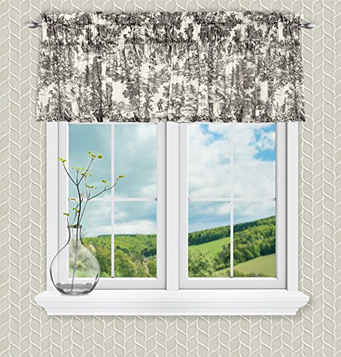 Victoria Park Toile Tailored Valence Window Curtain, Black