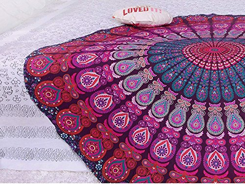 GLOBUS CHOICE INC. Lavender Round Tapestry Wall Hanging Mandala Tapestries Indian Cotton Hippie Round Tapestry