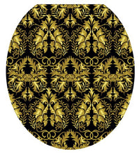 Toilet Tattoos, Toilet Seat Cover Decal,Rococo Black And Gold, Size Round/Standard