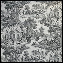 Image of Victoria Park Toile Tailored Valence Window Curtain, Black