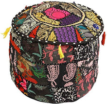 GANESHAM Indian Hippie Vintage Cotton Floor Pillow & Cushion Patchwork Bean Bag Chair Cover Boho Bohemian Hand Embroidered Handmade Pouf Ottoman (Black, 13