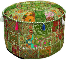 Indian Embroidered Patchwork Cover Indian Decorative Pouf Indian Comfortable Floor Cotton Cushion Ottoman Pouf,Indian Designs Ethnic Patchwork Pouf 18X13 inch (Beige) (Light Green, 14