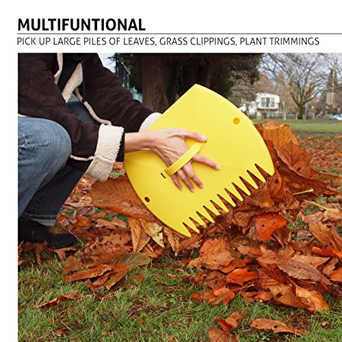 Garden and Yard Leaf Scoops Hand Rakes, Large Sized, Multiple Use for Leaves, Lawn Debris and Trash Pick Up Good Use 1 Pair