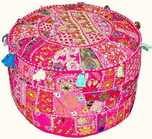 Sophia Art Indian Embroidered Patchwork Cover Indian Decorative Pouf Indian Comfortable Floor Cotton Cushion Ottoman Pouf,Indian Designs Ethnic Patchwork Pouf 18X13 inch (Beige) (Dark Pink, 14