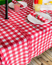 Image of DII 100% Polyester, Spill Proof, Machine Washable, Zipper Tablecloth for Outdoor Use with Umbrella Covered Tables, 60x120 Round, Red Check, Seats 10 to 12 People, w