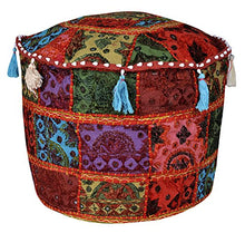 Lalhaveli Handmade Embroidery Round Ottoman Cushion Cover 17 X 17 X 12 Inches