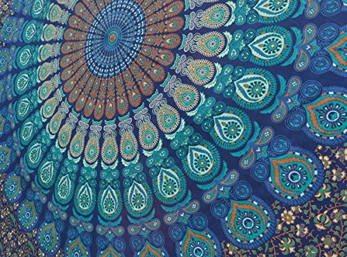 Popular Handicrafts Tapestry Wall Hanging Twin Hippie Mandala Bohemian Wall Tapestry Psychedelic Indian Bedspread Magical Thinking Tapestry 84x54 Inches,(215x140cms)