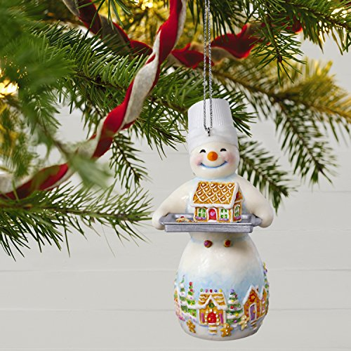 Hallmark Keepsake Christmas Ornament 2018 Year Dated, Snowman and Gingerbread House Snowtop Lodge Ginger N. Sweethaus Series #14