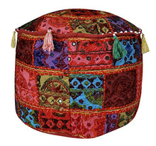 Lalhaveli Handmade Embroidery Patchwork Design Cotton Round Ottoman Cushion Cover 17 X 17 X 12 Inches