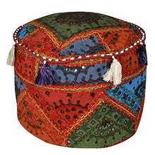 Lalhaveli Home Decorative Patchwork Embroidered Ottoman Cover 16 X 16 X 12 Inches