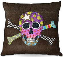 Outdoor Patio Couch Quantity 1 Throw Pillows from DiaNoche Designs by Marley Ungaro - Skull and Cross Bones Brown