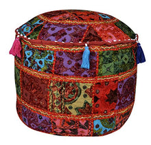 Lalhaveli Mirror & Embroidery Work Design Cotton Pouf Ottoman Cover 17 X 17 X 12 Inches