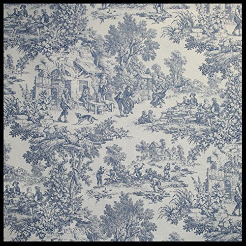 Victoria Park Toile Bradford Valence Window Curtain, Blue
