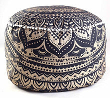 Indian Mandala Tapestry Decorative Floor Designs Cover Ottoman Pouf Cotton Comfortable Indian Cover Cushion Pouf Pillow Indian Indian Ombre Traditional Ethnic Pouf 14 x 24'' (Black-Gold Ombre)