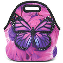Image of ICOLOR Purple Big Butterfly Insulated Neoprene Lunch Bag Tote Handbag lunchbox Food Container Gourmet Tote Cooler warm Pouch For School work Office