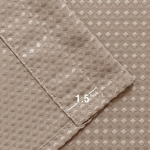 jinchan Waffle Woven Cafe Curtains Waterproof Tiers Kitchen Window Curtain Sets for Bathroom 72-by-24 Inch Taupe One Pair