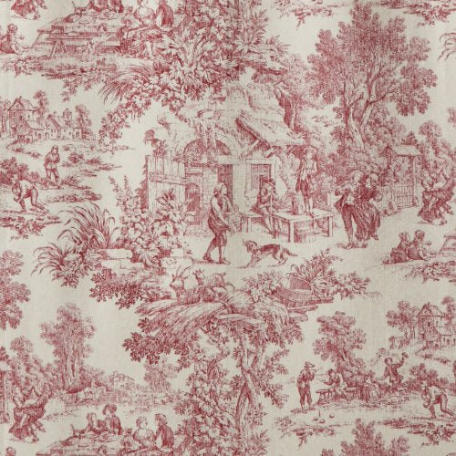 Victoria Park Toile 68-Inch-by-24 Inch Tailored Tier Curtains, Red