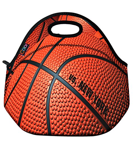 Icolor Basketball Insulated Neoprene Lunch Bag Tote Handbag Lunchbox Food Container Gourmet Tote Coo