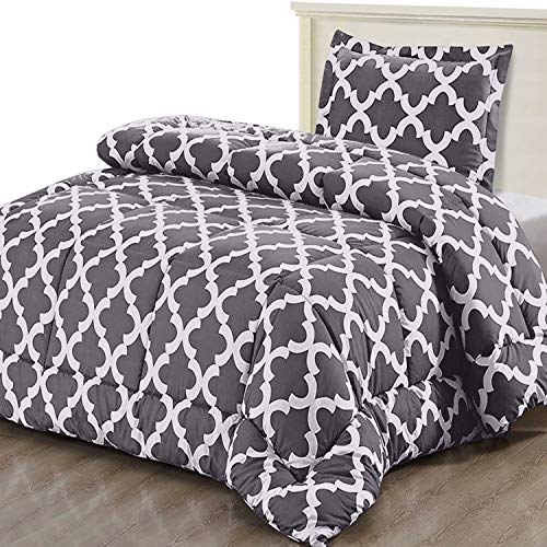 Utopia Bedding Printed Comforter Set (Twin/Twin Xl, Grey) With 1 Pillow Sham   Luxurious Brushed Mic