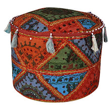 Lalhaveli Ethnic Patchwork Ottoman Cover 17 X 17 X 12 Inches