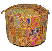 Sophia Art Indian Pouf Stool Vintage Patchwork Embellished with Patchwork Living Room Ottoman Cover, 22 X 14 Inches, Only Cover, Filler not Included