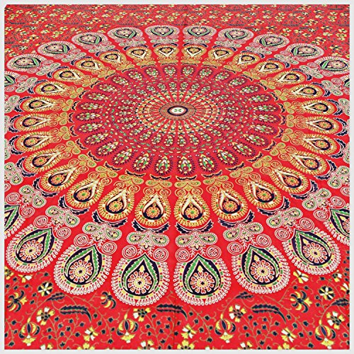 GLOBUS CHOICE INC. Wall Hanging Tapestries Mandala Tapestries Throw Bedspread Red Peacock Hippie Hippie Wall Tapestry Superior Quality